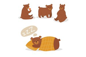 Cartoon bear character teddy pose vector set wild grizzly cute illustration adorable animal design.