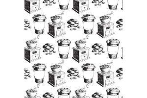 Coffee production hand drawn seamless pattern background vintage drawing drink retro cafe sketch dessert vector illustration.