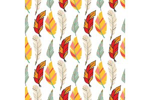 Tribal flat feather seamless pattern background bird vintage colorful ethnic hand drawn element decorative drawing nature quill painting vector illustration.