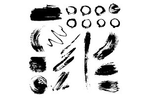 Different grunge brush strokes ink art texture dirty creative grungy element paintbrush vector illustration.