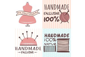 Handmade needlework craft badges sewing banners fashion tailoring tailor handicraft elements vector illustration.