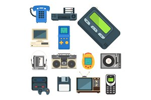 Vintage technologies vector retro audio multimedia entertainment old electronic gadget communication illustration.