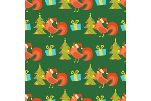 Cartoon rooster seamless pattern vector illustration chicken farm christmas animal agriculture domestic character