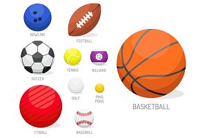 Set of sport balls collection tournament win round basket soccer equipment vector illustration.