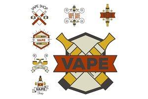 Vaping e-cigarette emblemsvector vintage electronic nicotine cigarette illustration vaporizer device shop design.