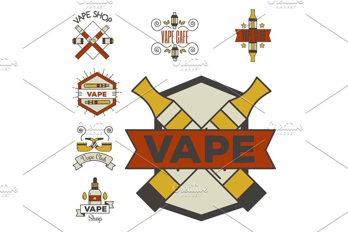 Vaping e-cigarette emblemsvector vintage electronic nicotine cigarette  illustration vaporizer device shop design
