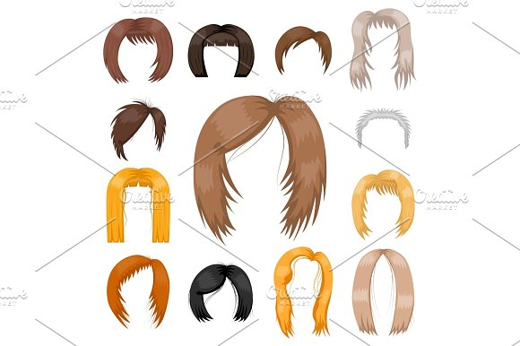 Set Of Woman Hair Styling Vector Illustration Young Brown Silhouette Health Color Haircut