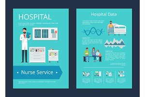 Hospital Data &Nurse Service Vector Illustration
