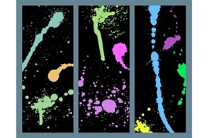 Vector set of ink splashes cards blots splatter grunge design element and art messy backdrop color dirty liquid shape spatter silhouette illustration