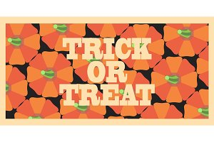 Trick or Treat Orange Poster Vector Illustration