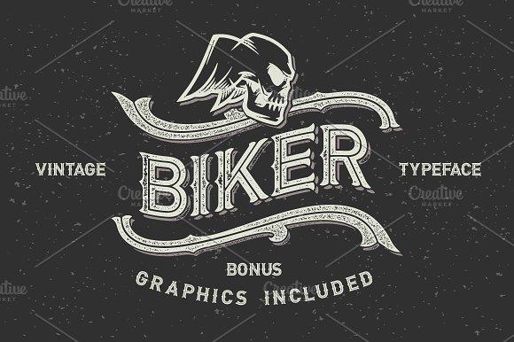 Biker font set + graphics