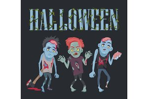Halloween with Zombies on Vector Illustration