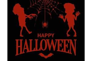 Happy Halloween Silhouettes on Vector Illustration