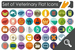 72 VETERINARY flat icons