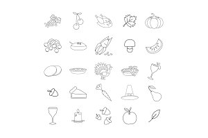 Thanksgiving Symbols Line Vector Icons Collection