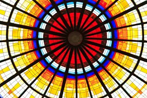 Colored stained glass on a round dome