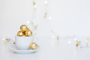 Christmas chocolate in tea cup stock