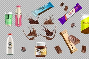 Vector chocolate milk bottle mockup