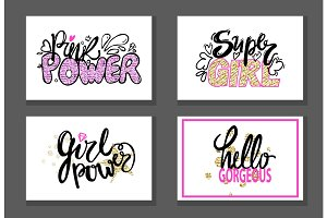 Pink Power Super Girl Gorgeous Graffiti Stickers