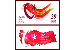 Republic Day Turkey Icon Vector Illustration Set