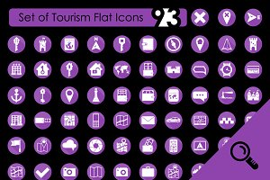 93 TOURISM flat icons