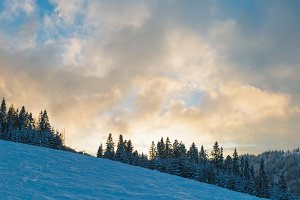 Winter Carpathians landscape