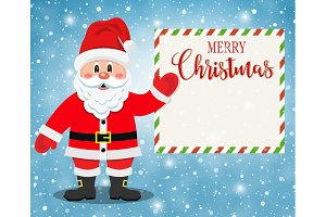 Santa Claus Character Showing Merry Christmas
