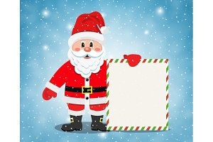 Merry Santa Claus standing with christmas banner