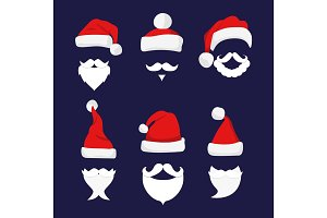 Santa hats, moustache and beards.