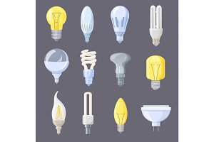 Collection of Light Bulbs on Vector Illustration