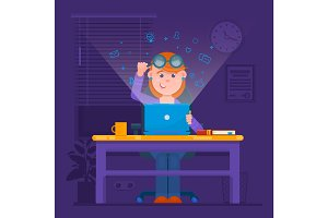 Freelancer working at night concept. Young woman in the room preparing for exams, searching internet or fashion website