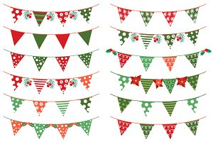 Christmas bunting clip art set