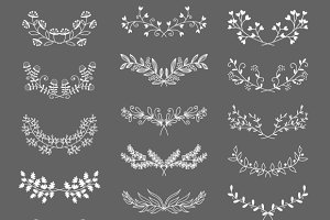 Symmetrical floral graphic elements