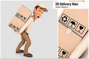 3D Delivery Man Heavy Parcels