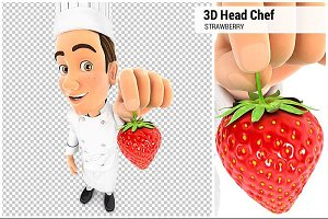 3D Head Chef Holding a Strawberry