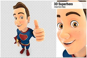 3D Superhero Positive Pose