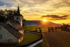 Gothic church at sunset in Slovakia