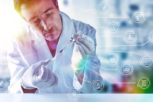 Medical scientist and medical icons