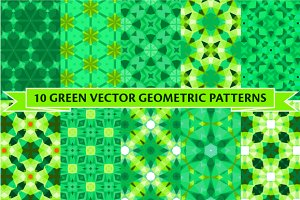 Set of ten green patterns