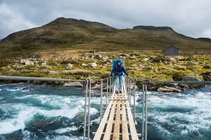 A traveller on a bridge, Norway