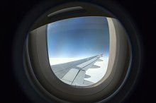 airplane window, aerial view