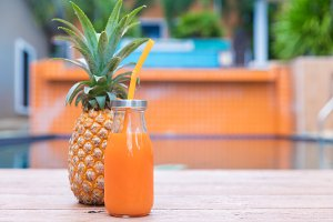 yellow pineapple tropic fruit summer smoothie