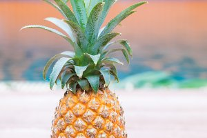Fresh yellow pineapple tropic fruit summer