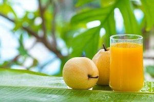 yellow pear tropic fruit summer smoothie shake