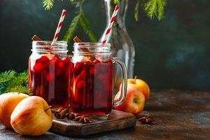 Glasses with hot punch for winter. Mulled wine