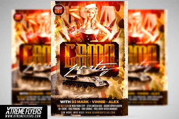 camo party flyer flyer templates creative market