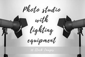 Photo studio with equipment