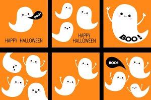 Cute ghost card set Happy Halloween