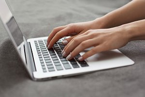 Girl Hands Typing On Laptop