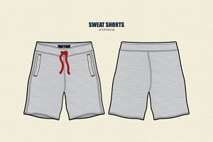 Men Sweat Shorts Vector Template